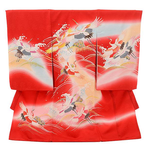 女児産着 お宮参りレンタル1704 正絹 赤地 波に鶴