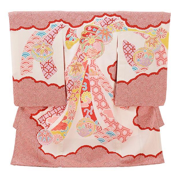 女児産着 お宮参りレンタル1705 正絹 白地赤 雲取り 束ねのしにまり