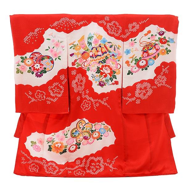 女児産着 お宮参りレンタル1707 正絹 赤地 まりにぼたん