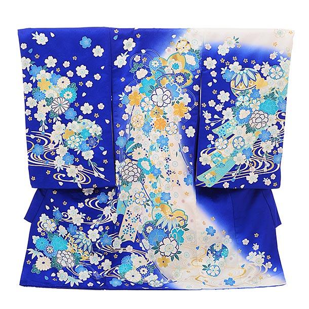 女児産着 お宮参りレンタル1709 正絹 ブルー地 白 花流し