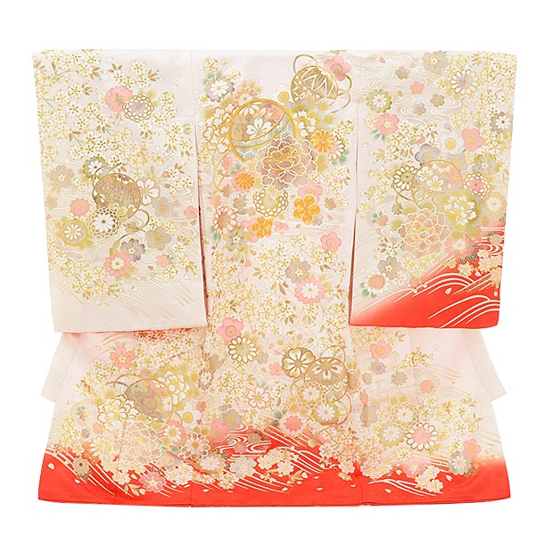 女児産着 お宮参りレンタル1710 正絹 白地 裾赤 まり ぼたん