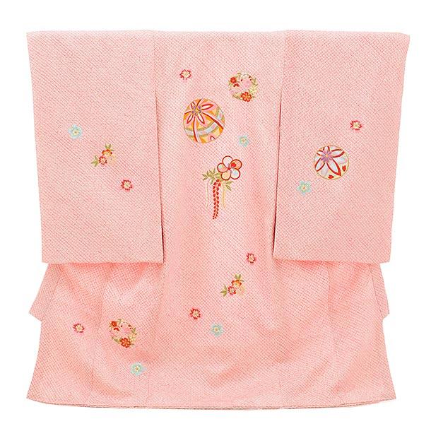 女児産着 お宮参りレンタル1711 高級正絹 ピンク地 総絞り 刺繍 まり