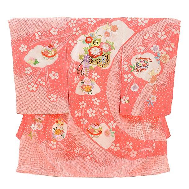 女児産着 お宮参りレンタル1717 正絹 ピンク地 絞り 刺繍 花車