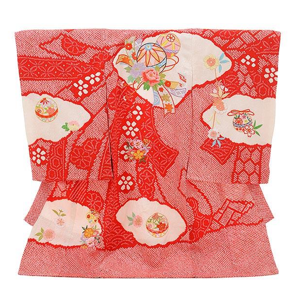 女児産着 お宮参りレンタル1718 高級正絹 赤地 絞り刺繍 熨斗にまり