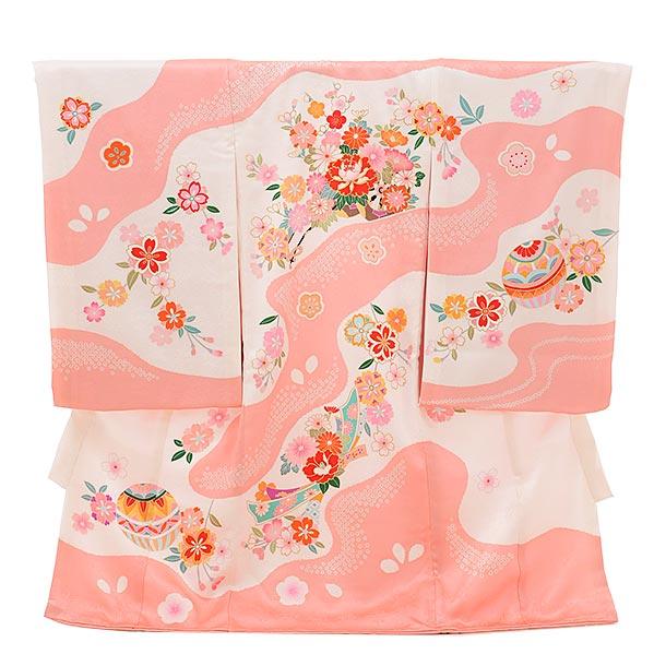 女児産着 お宮参りレンタル1721 正絹 白ピンク地 花車 まり