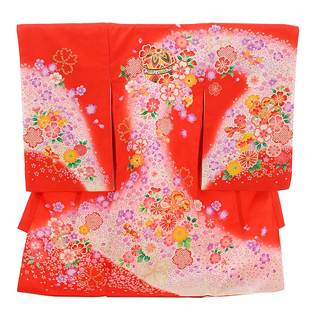 女児産着 お宮参りレンタル1723 正絹 赤地 まりに花流し