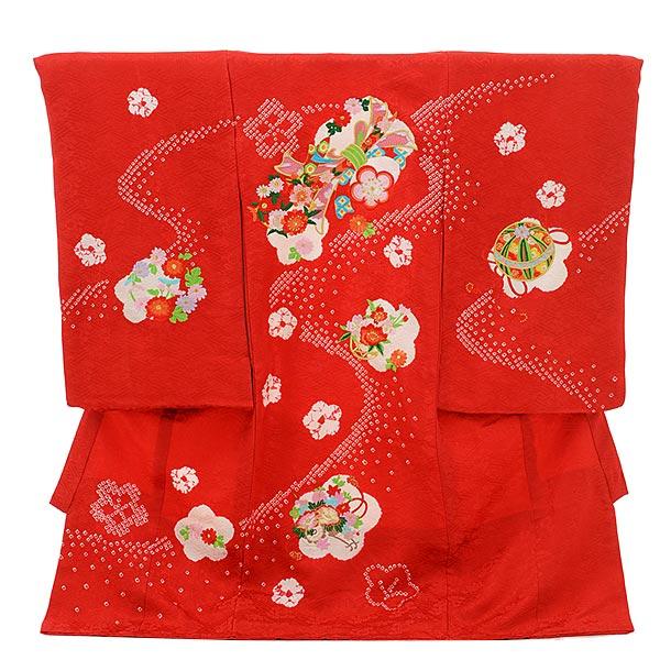 女児産着 お宮参りレンタル1725 正絹 赤地 刺繍 束ねのし まり 花