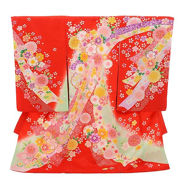 女児産着 お宮参りレンタル1729 正絹 赤地 熨斗に花散らし
