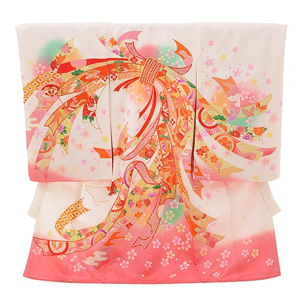 女児産着 お宮参りレンタル1735 正絹 白地 裾ピンク 束ねのし