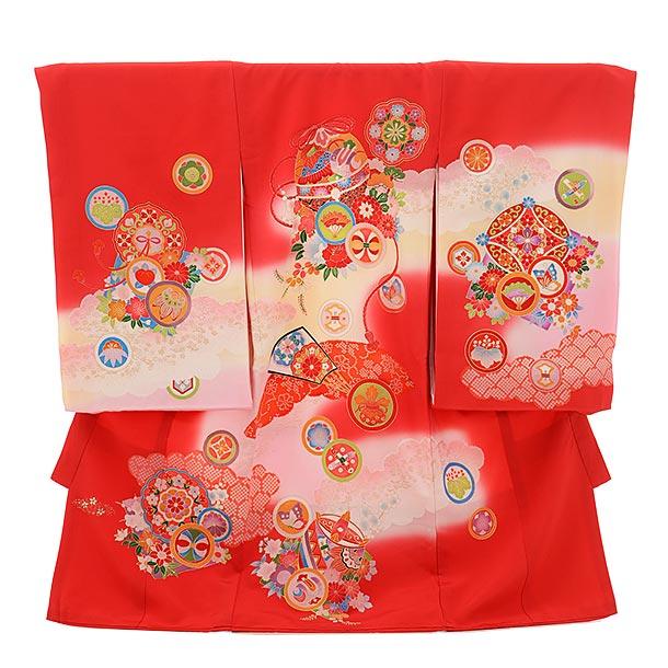 ▶女児産着(お宮参り)1736 正絹 赤地 鈴に丸紋