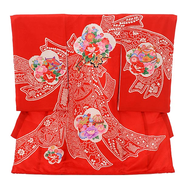 女児産着 お宮参りレンタル1738 正絹 赤地 熨斗に花車