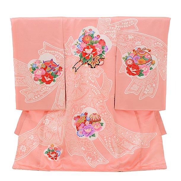 ▶女児産着(お宮参り)1739 正絹 ピンク地 熨斗に花車