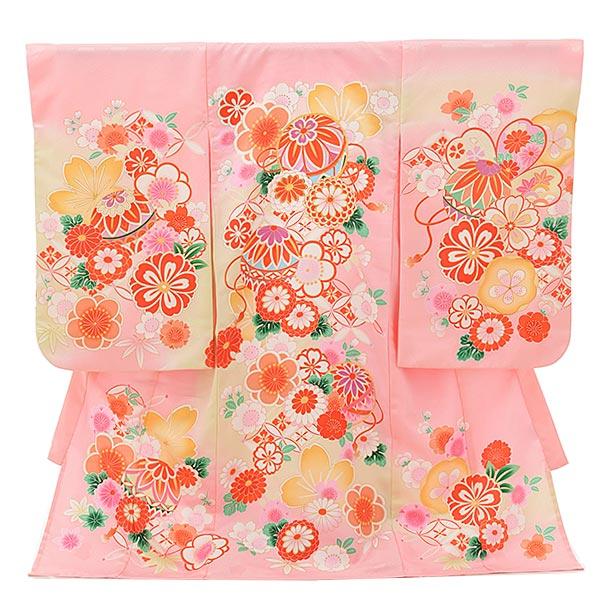夏用 女児産着 お宮参りレンタル1801 単衣 ピンク地 鞠に花づくし
