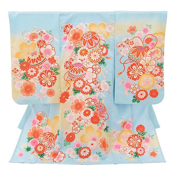 夏用 女児産着 お宮参りレンタル1802 単衣 水色地 鞠に花づくし