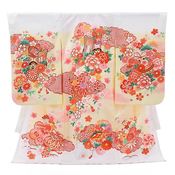 夏用 女児産着 お宮参りレンタル1803 単衣 白地×クリーム花模様