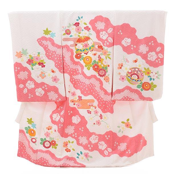 女児産着 お宮参りレンタル1805 【高級正絹】白地 かすみに花まり