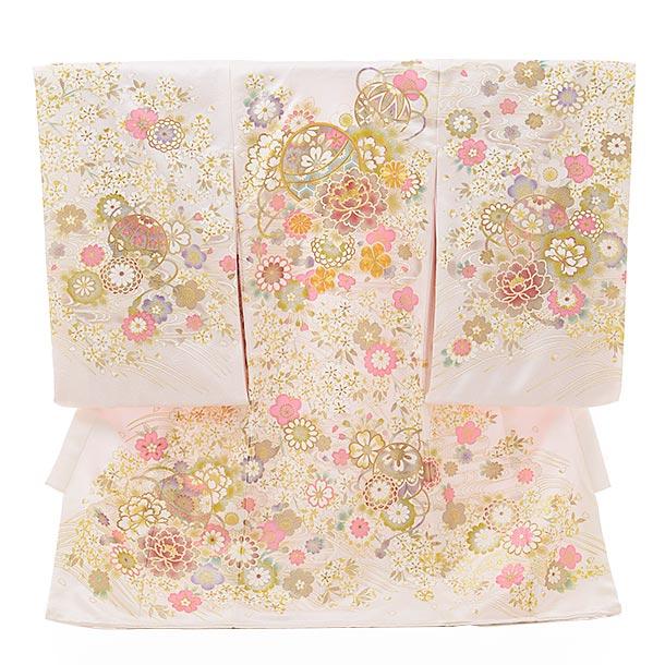 女児産着 お宮参りレンタル1808 【高級正絹】白地 ピンク まり ぼたん