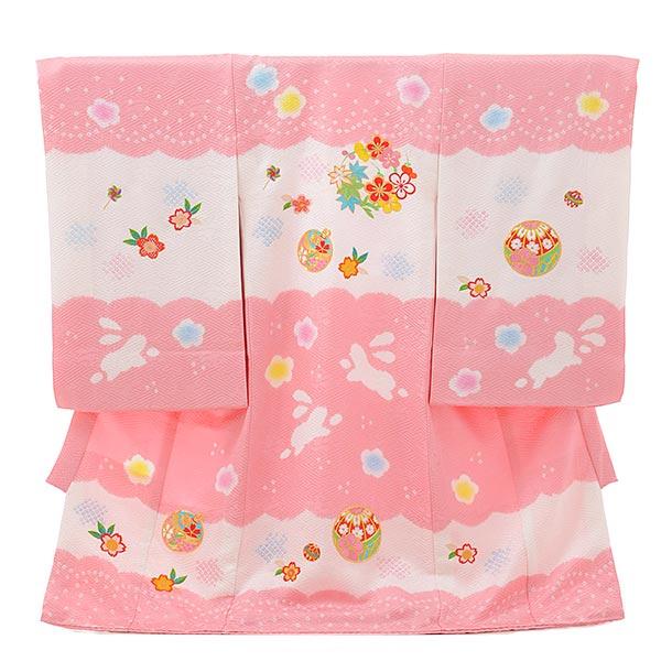 女児産着 お宮参りレンタル1809 ピンク地 刺繍 鈴まり桜