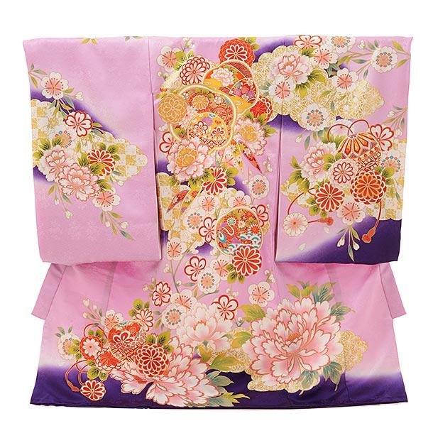 ▶女児産着(お宮参り)1815 京友禅 うす紫地裾紫 ぼたん菊梅