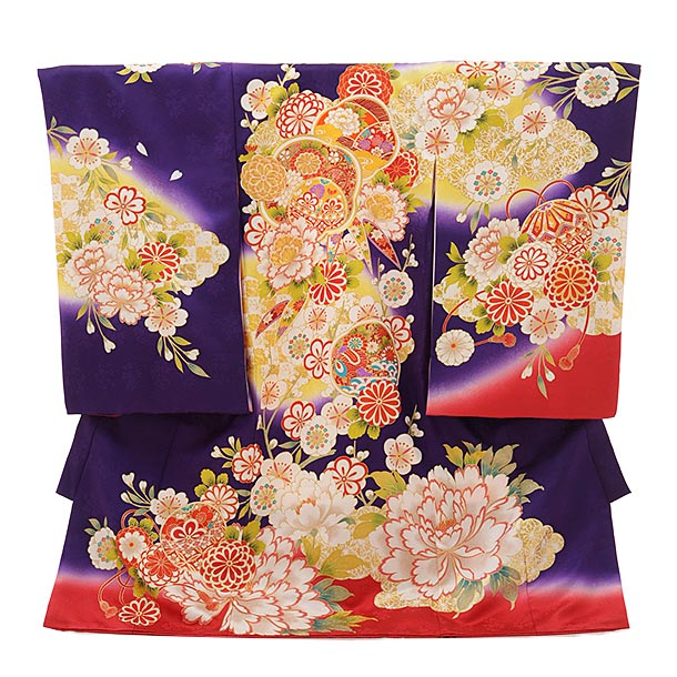 ▶女児産着(お宮参り)1816 京友禅 紫地裾赤 ぼたん菊梅