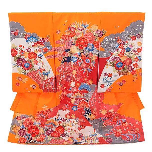 ▶女児産着(お宮参り)1819 オレンジ地 雲取り 花車