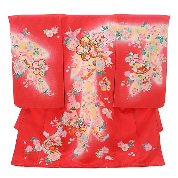 ▶女児産着(お宮参り)1825 濃ピンク地 花ねじり梅
