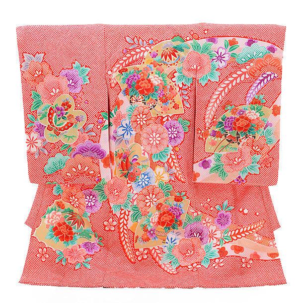 ▶女児産着(お宮参り)D022 赤地 かのこ 扇にまり花