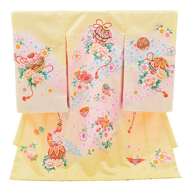 産着レンタル 女の子(お宮参り)D027 淡黄色 まりと花