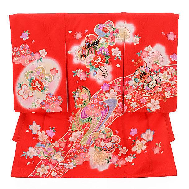 産着レンタル 女の子(お宮参り)D029 赤地 牡丹と桜