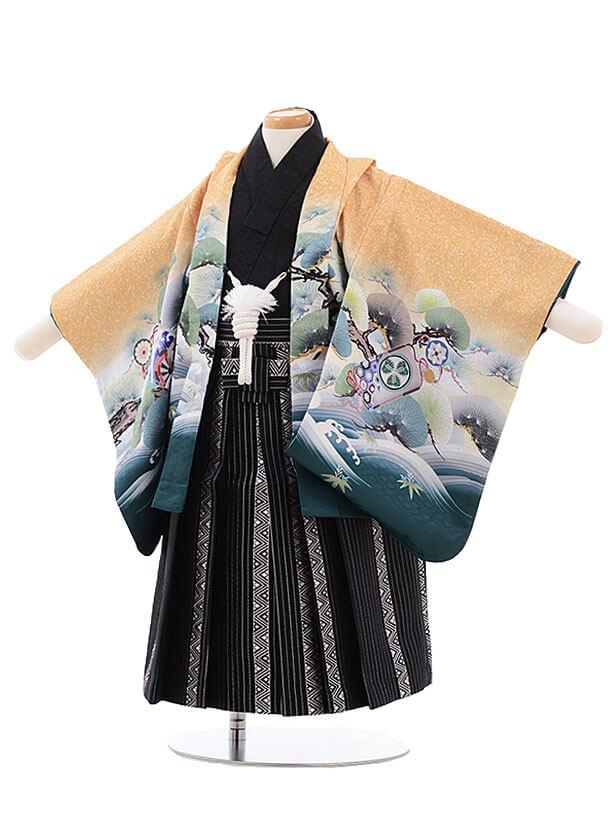 男児ベビー袴 0032 からし色 グリーンぼかし 兜 (ゴムタイプ帯付)
