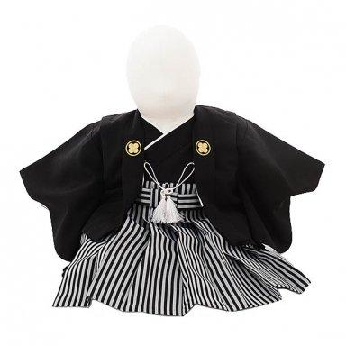 男児【100日~1歳用】 0055  黒紋付羽織袴セット/一体型
