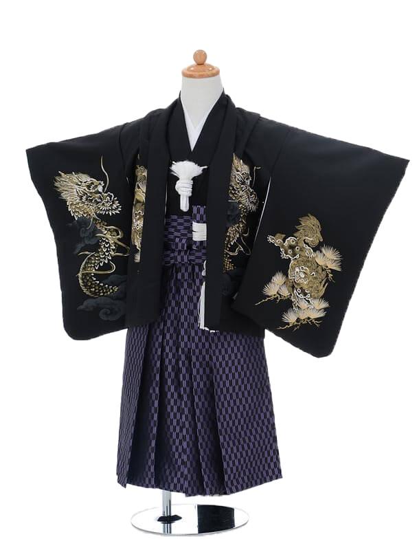 かんたん七五三(3歳男袴)0208花夢二黒×パープル