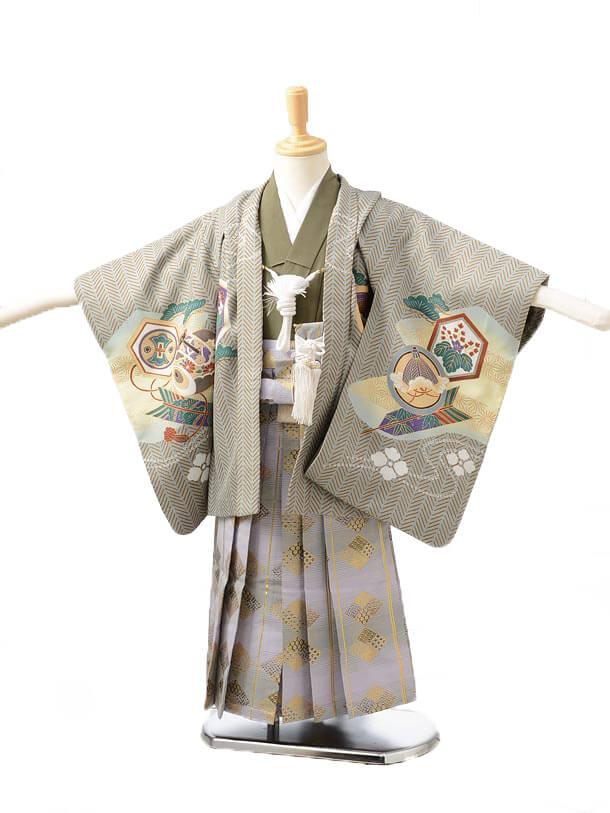 かんたん七五三(3歳男袴)0212グレー×パープル