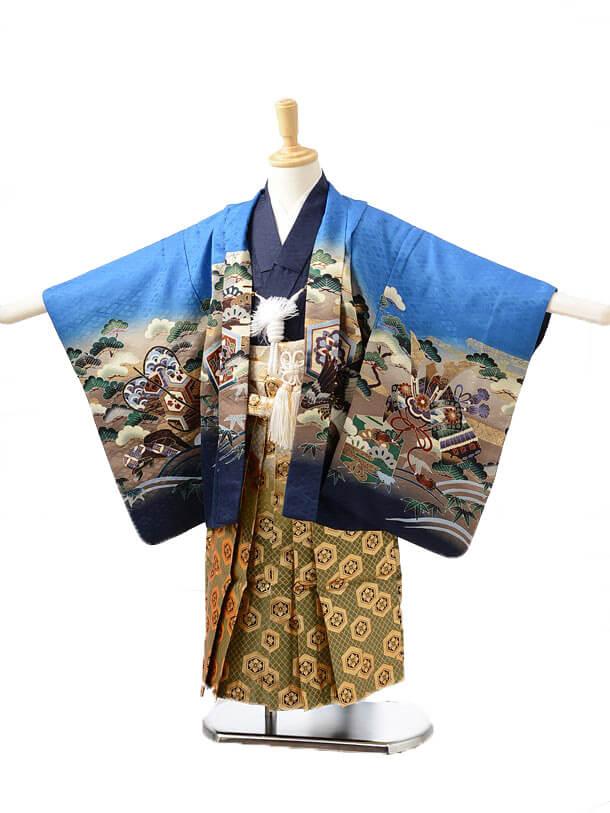 かんたん七五三(3歳男袴)0230ブルーに兜龍