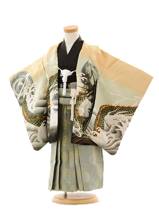 七五三(3歳男袴)0298 からし 龍×グリーングレー