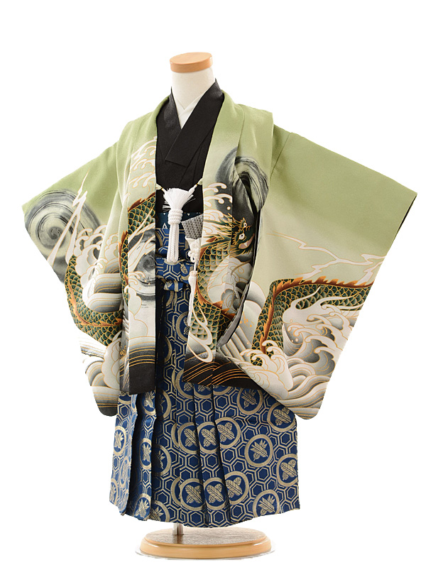 七五三(3歳男袴)0299 グリーン 龍×紺