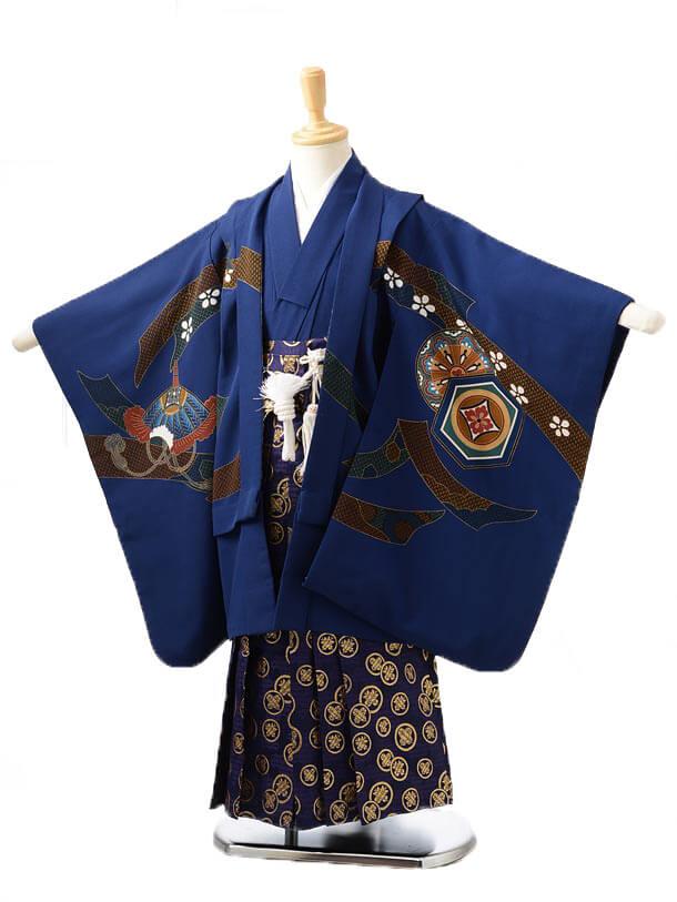 かんたん753レンタル(5歳男の子袴)0501紺兜×紺袴