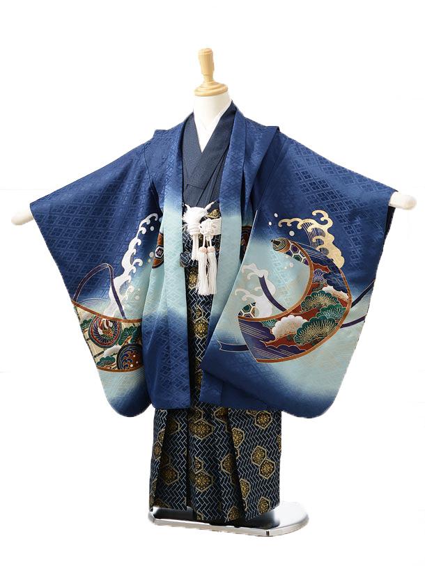 かんたん753レンタル(5歳男の子袴)0522紺鷹×紺地袴