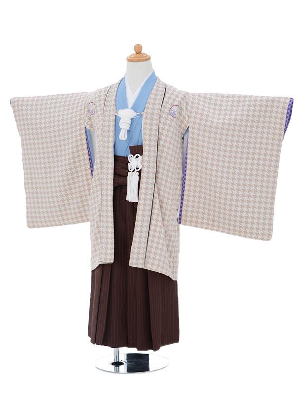 かんたん753レンタル(5歳男の子袴)0549ひさかたろまん×茶色地縞袴