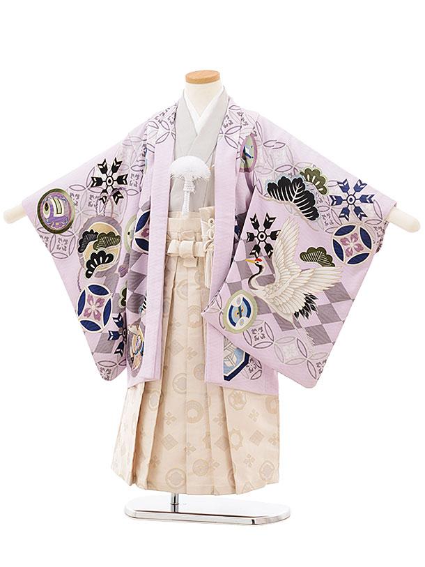 かんたん753レンタル(4歳,5歳男の子袴)0550乙葉 パープル×白袴