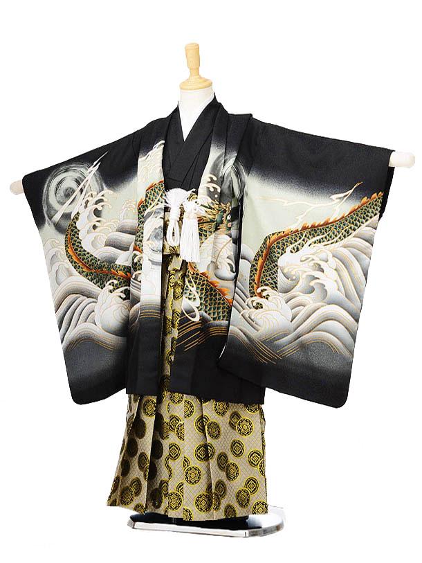 753レンタル(5歳男の子袴)0580黒地波と龍×ベージュ袴