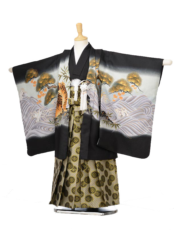 753レンタル(5歳男の子袴)0582黒地鷹と虎×ベージュ袴