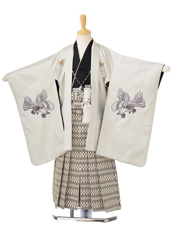 かんたん753レンタル(5歳男の子袴)0588ひさかたろまん×ベージュ袴