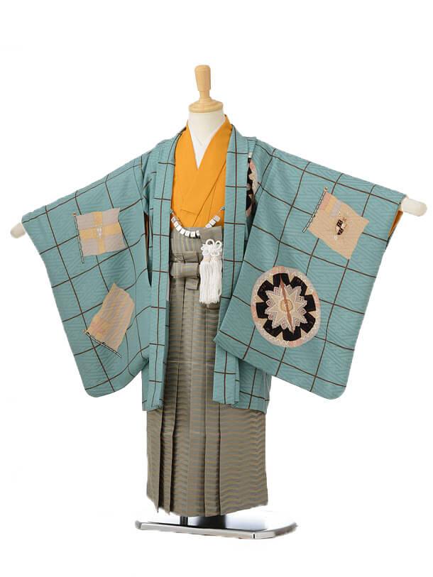 753レンタル(5歳男の子袴)0589モダンアンテナグリーン×カーキ袴