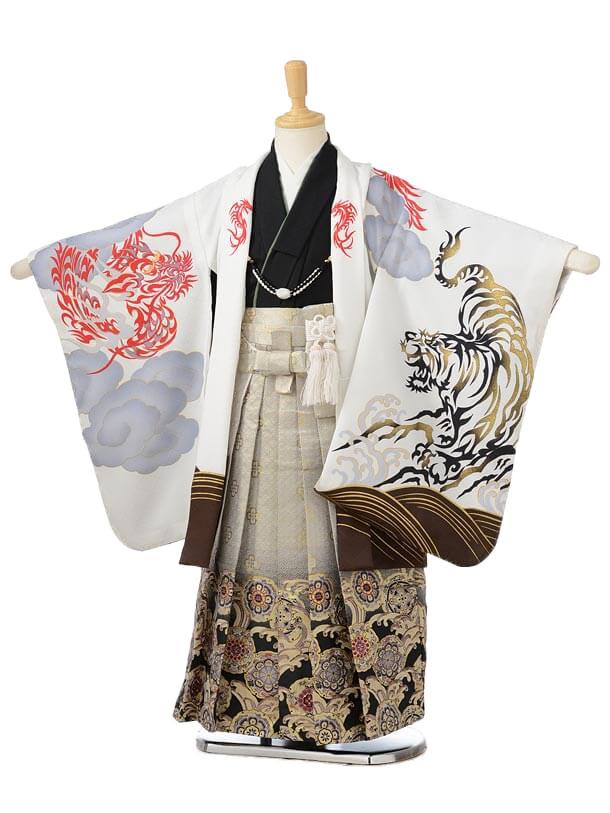 753レンタル(5歳男の子袴)0590花わらべ 白虎×グレー袴