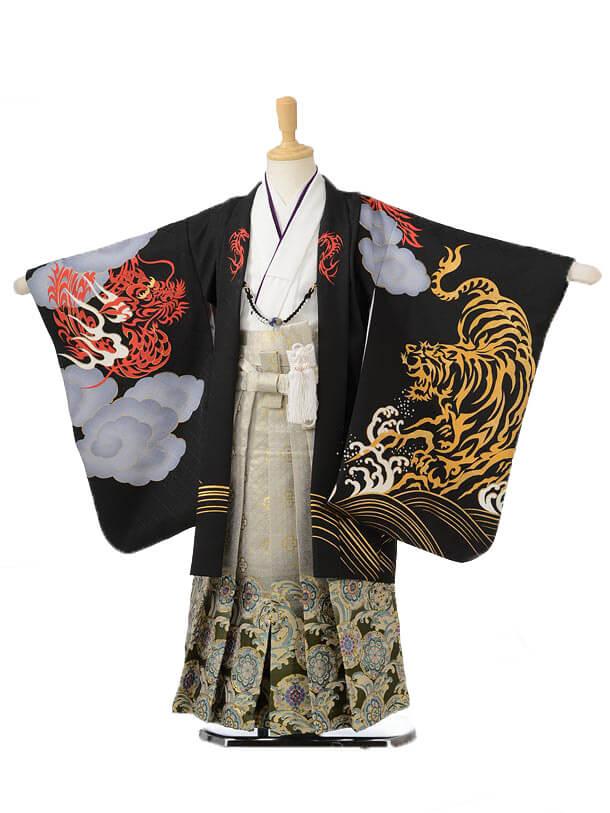 753レンタル(5歳男の子袴)0591花わらべ 黒虎×グレー袴