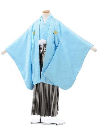 753レンタル(7歳男袴)0806スカイブルー×ベージュ縞袴