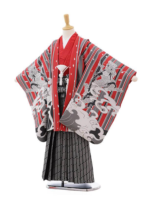 七五三レンタル(7歳男の子袴)0816 おりびと 赤ストライプ 波に龍
