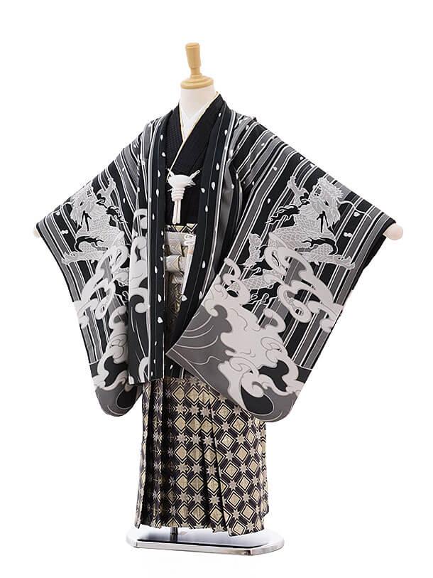 七五三レンタル(7歳男袴)0817 黒ストライプ波に龍