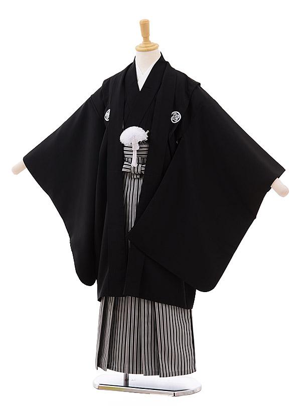 七五三(9歳男袴)0820 黒紋付×黒縦縞